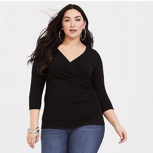 Torrid 'Foxy' Black Wrap Shirt Size 2 plus